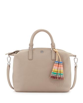 Small Slouchy Satchel Bag w/Tassel, French Gray