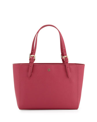 York Small Saffiano Buckled Tote Bag, Raspberry