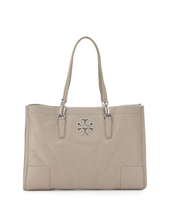 Britten Leather Tote Bag, French Gray