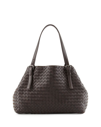 A-Shape Medium Woven Tote Bag, Dark Brown