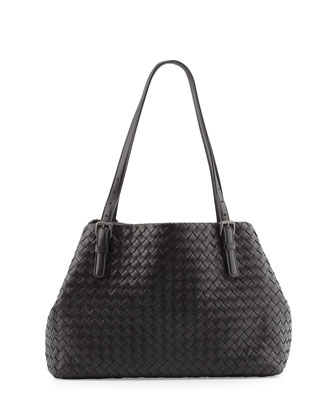 A-Shape Medium Woven Tote Bag, Black