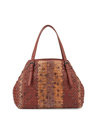 A-Shape Medium Woven Napa & Snakeskin Tote Bag, Russet/Persimmon