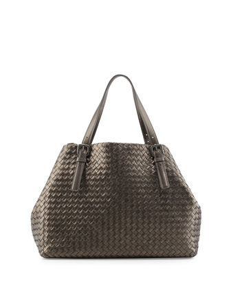 A-Shape Large Woven Tote Bag, Bronze