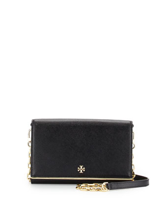 Robinson Saffiano Chain Wallet, Black