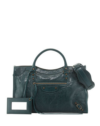 Classic City Lambskin Tote Bag, Green