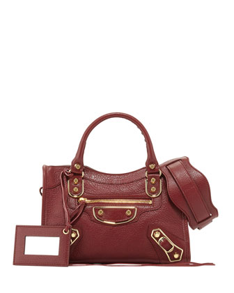 Edge City Mini Goatskin Satchel Bag, Dark Red