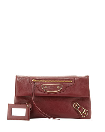 Edge Pebbled Goatskin Envelope Crossbody Bag, Red
