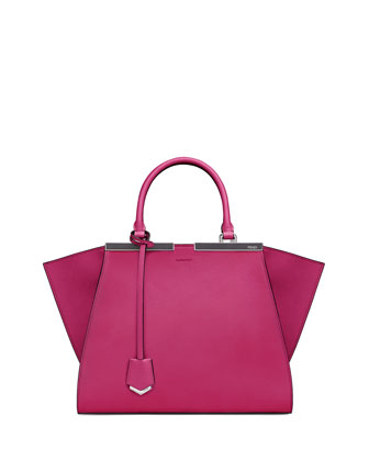 3 Jours Leather Satchel Bag, Magenta/Gray