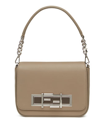 Baguette Calf Leather Shoulder Bag, Taupe
