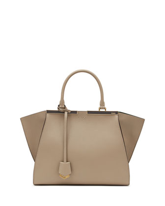 Trois-Jour Leather Medium Bicolor Tote Bag, Dove/Taupe