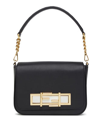 Baguette Calf Leather Shoulder Bag, Black