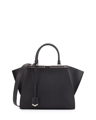 3 Jours Leather Satchel Bag, Black/White