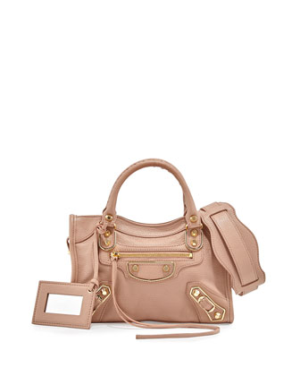 Metallic Edge Mini City AJ Satchel Bag, Rose