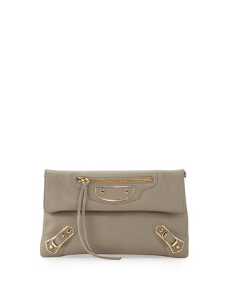 Metallic Edge Envelope Crossbody Bag, Gray