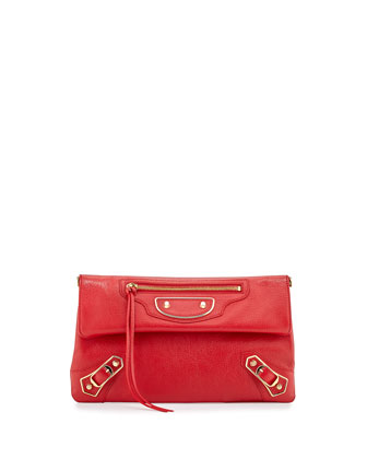 Metallic Edge Envelope Crossbody Bag, Red