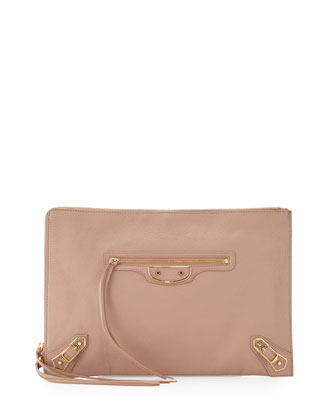 Metallic Edge Flat Zip Pouch Bag, Rose