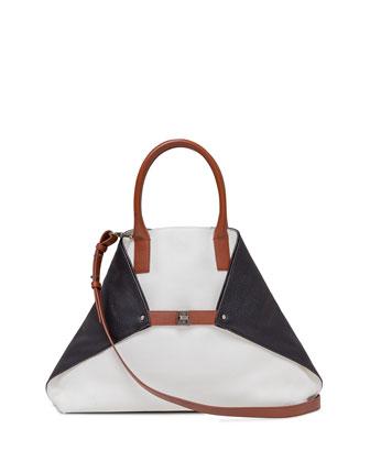 Ai Medium Cervo Leather Messenger Bag, White Multi