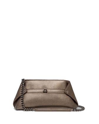 Ai Small Cervo Leather Pochette, Vicuna Metallic