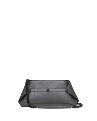 Ai Small Cervo Leather Pochette, Gray Metallic