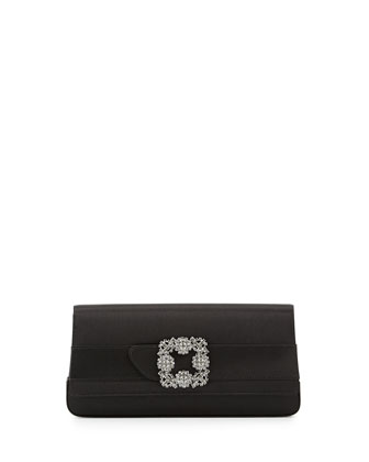 Gothisi Satin Buckle Clutch Bag, Black