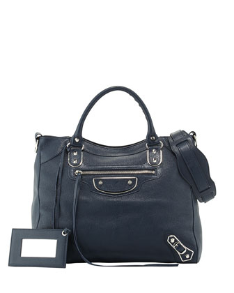 Edge Velo Goatskin Satchel Bag, Dark Blue