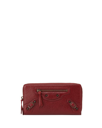 Classic Lambskin Zip Continental Wallet, Red