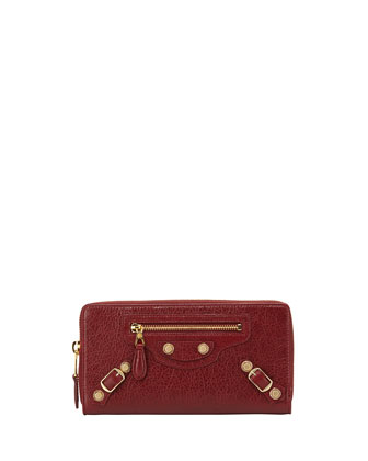 Giant 12 Golden Lambskin Zip Continental Wallet, Red