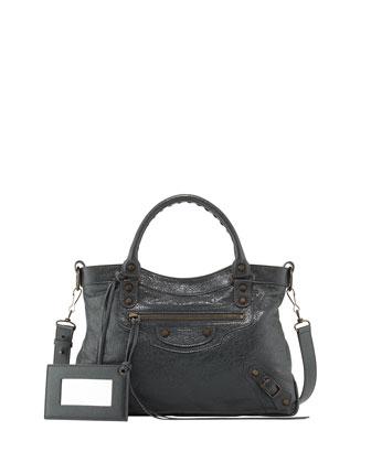 Classic Town Lambskin Satchel Bag, Gray