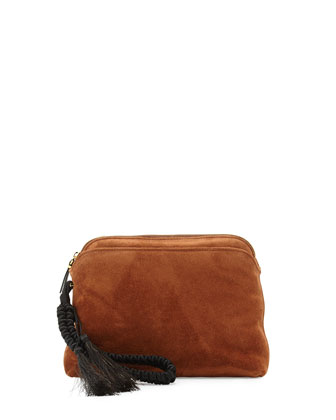 Suede Braided-Strap Wristlet Pouch Bag
