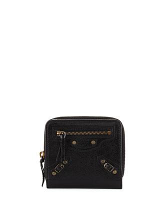 Classic Goatskin Billfold Zip Wallet, Black