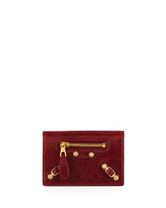 Giant 12 Golden Lambskin Card Case, Red