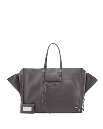 Papier A4 Leather Zip-Trim Tote Bag, Gray