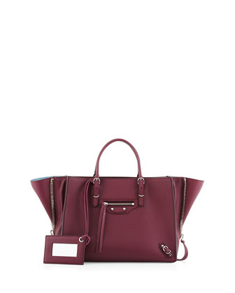Papier A6 Mini Leather Tote Bag, Cassis/Bordeaux