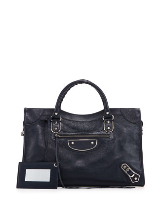 Metallic Edge City Goatskin Bag, Dark Blue