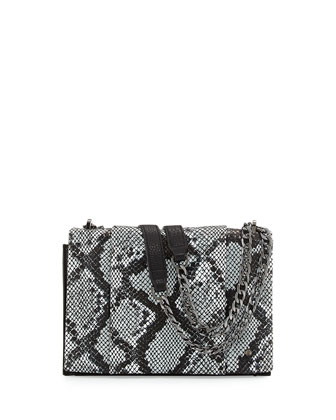 Snakeskin-Embossed Leather Shoulder Bag, Black Multi