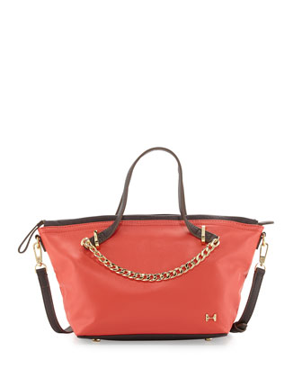 Two-Tone Leather Satchel Bag, Melon