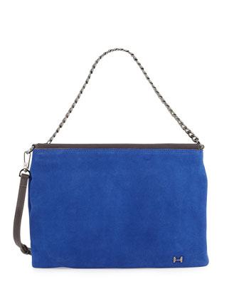 Suede Crossbody Bag, Cobalt Multi