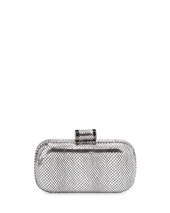 Embossed Snakeskin Evening Minaudiere, Silver