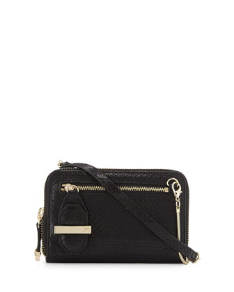 Snakeskin Embossed Crossbody Bag, Black
