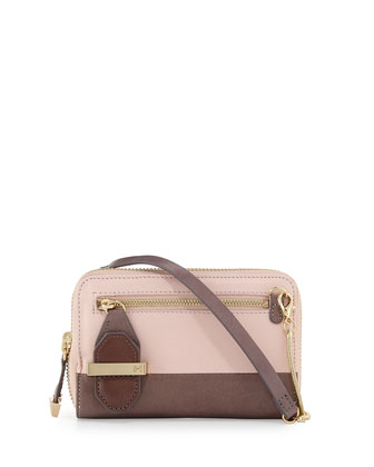 Smooth Two-Tone Leather Crossbody Bag, Barrel Pink
