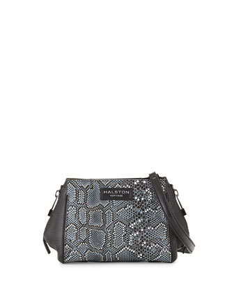 Mosaic Python-Embossed Leather Crossbody Bag, Black Multi