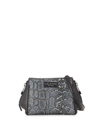 Mosaic Python-Embossed Leather Crossbody Bag, Black Multi