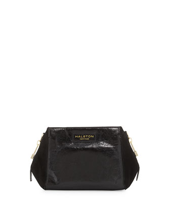 Glazed Leather & Suede Evening Clutch Bag, Black
