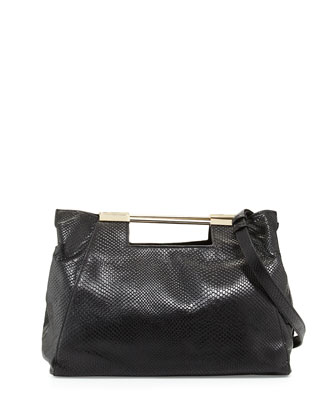 Lizard-Embossed Leather Satchel Bag, Black