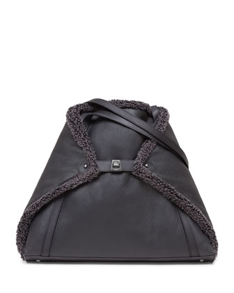 Ai Reversible Medium Shearling Fur Tote Bag, Black