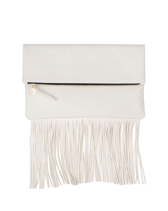 Fringe Fold-Over Clutch Bag, Cream