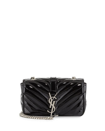 V-Flap Patent Leather Mini Shoulder Chain Bag, Black