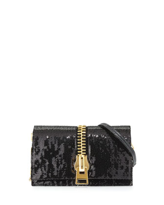 Small Zip-Front Sequin Karung Crossbody Clutch Bag, Black