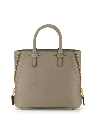 Jennifer Mini Trap Leather Tote Bag, Warm Taupe
