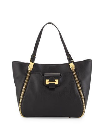 Medium Sedgewick Leather Zip-Trim Tote Bag, Black